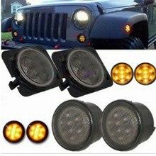 Янтарный передняя светодиодный поворотник светильник сборки 2007 ~ 2016 для Jeep Wrangler JK по низкой цене