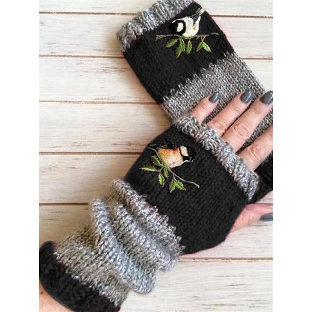 Women Stylish Hand Warmer Winter Gloves Arm Crochet Knitting Faux Wool Flowers Mitten Warm Fingerless Glove Gants Femme #W3 5