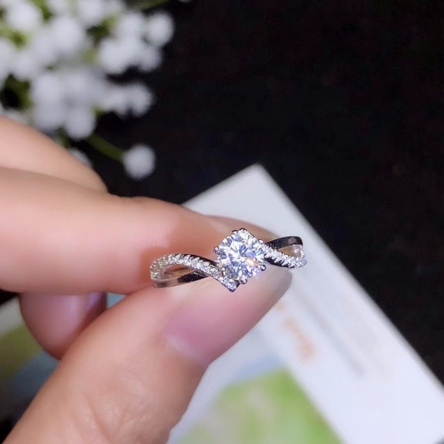 Moissanite 925 real silver high density gemstones comparable to diamonds resizable rings for women 1