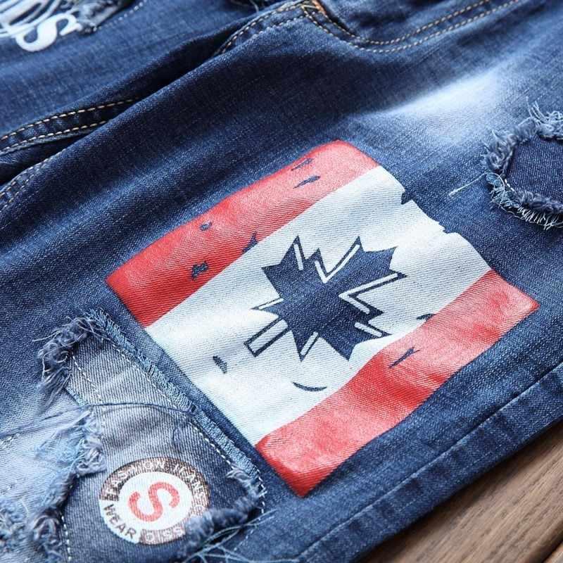 Sommer Elastische Ausgefranste Mens Slim Fit Jeans Hosen Dünne Gerade Punk Stil Druck Patches Lässige Big Size Herren Denim Hose