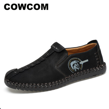 COWCOM duże rozmiary damskie buty 48 duże rozmiary męskie buty ręcznie brytyjskie skórzane buty męskie duże rozmiary skórzane buty CLK tanie i dobre opinie Prawdziwej skóry Skóra bydlęca Z tworzywa sztucznego Slip-on Pasuje prawda na wymiar weź swój normalny rozmiar Podstawowe
