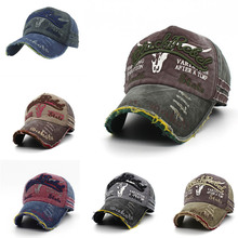 Retro Canvas Denim Letters Patchwork Vintage Baseball Cap Men Women Sn