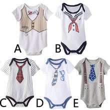 2020 Summer Baby Boy Rompers Bow Tie Print Newborn Boys Clothes Cotton Short Sleeve Toddler Clothing Infant Jumpsuits