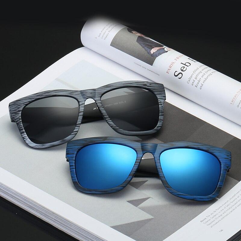 Unisex Wood Grain Sunglasses Men Vintage Eyewear Rivets Coating Glasses Black Brown Frames Male Female Square Sun Glasses