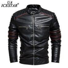 Uaicestar брендовая зимняя новая кожаная куртка пальто для мужчин
