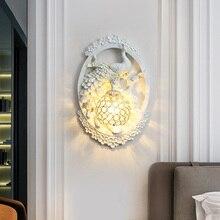 Lámpara de pared de lujo clásica asiática con diseño de pavo real, lámpara de pared de cristal, lámpara de pared de resina para dormitorio, lámpara de pared, accesorios de iluminación