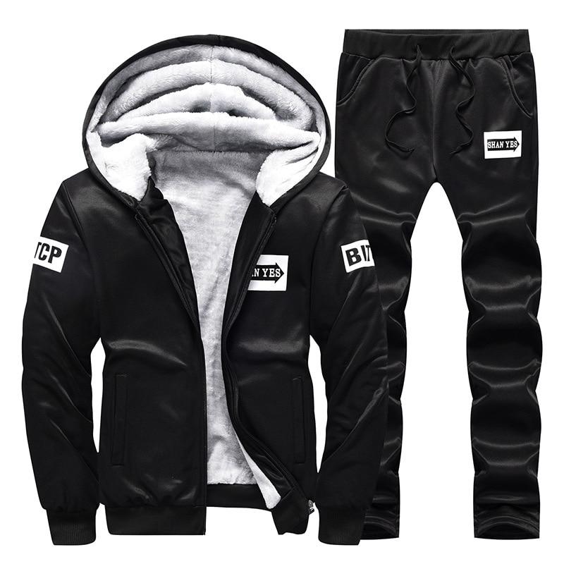 Set Men's Winter Trend Korean-style 2019 New Style Hooded Plus Velvet Men's Hoodie Leisure Sports Suit D80