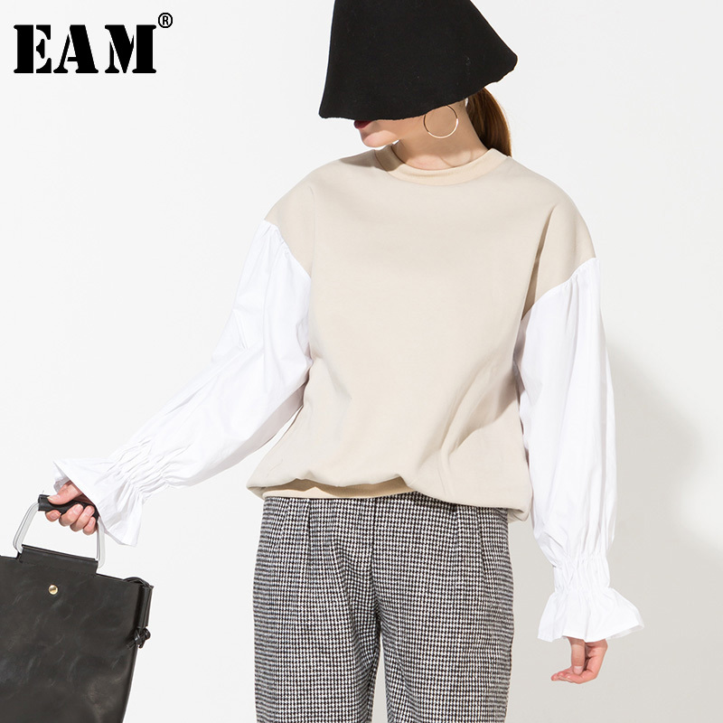 [EAM] Loose Fit Lantern Sleeve Contrast Color Sweatshirt New Round Neck Long Sleeve Women Fashion Spring Autumn 2020 LS0721