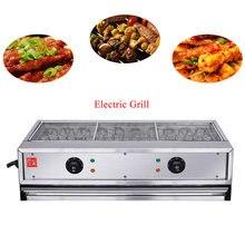 Коммерческий Электрический гриль для барбекю сковорода с двойным