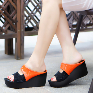 Elegant Crystal Chunky Platform Slippers Women Mix Color Casual Outdoor High Heels Sandals 2020 Summer Non-slip Slider