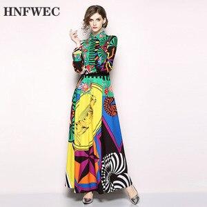 Image 1 - 2020 nowa wiosna moda kobiety odzież skręcić w dół kołnierz pełne rękawy wysoka talia długa sukienka kobieta w stylu Vintage Vestido Q303