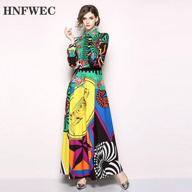 2020 nowa wiosna moda kobiety odzież skręcić w dół kołnierz pełne rękawy wysoka talia długa sukienka kobieta w stylu Vintage Vestido Q303