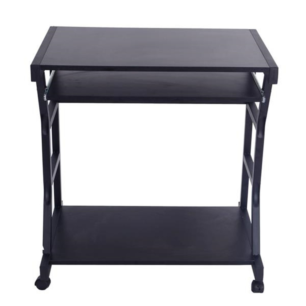 Beautiful And Fashion Moveable Four-wheel Computer Desk Black With Drawer PC Desk