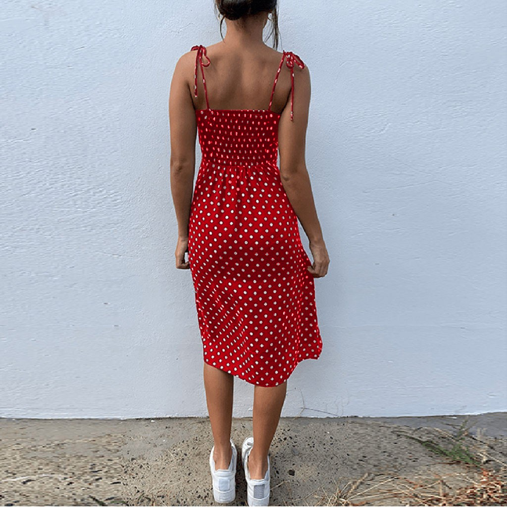 Dresses Sundress Summer Women Causal Polka Dot Sleeveless High Pleated elastic waist V Neck Beach
