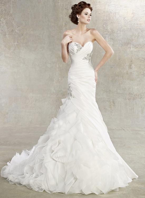 Free Shipping 2019 Real White Mermaid Tails New Sweetheart Mermaid Organza Ruffles Crystal Bead Bridal Gown Bridesmaid Dresses