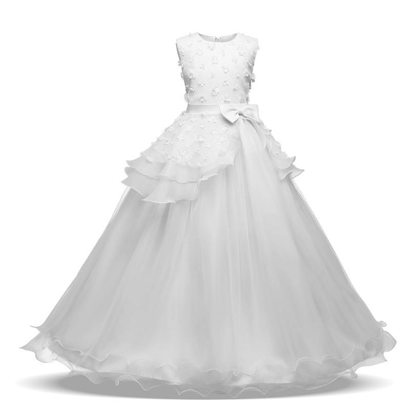 White Girl Dress Summer Flower Girls Dress Prom Gowns Dresses for Teen Girls Princess Wedding Dress 5-15 Yrs