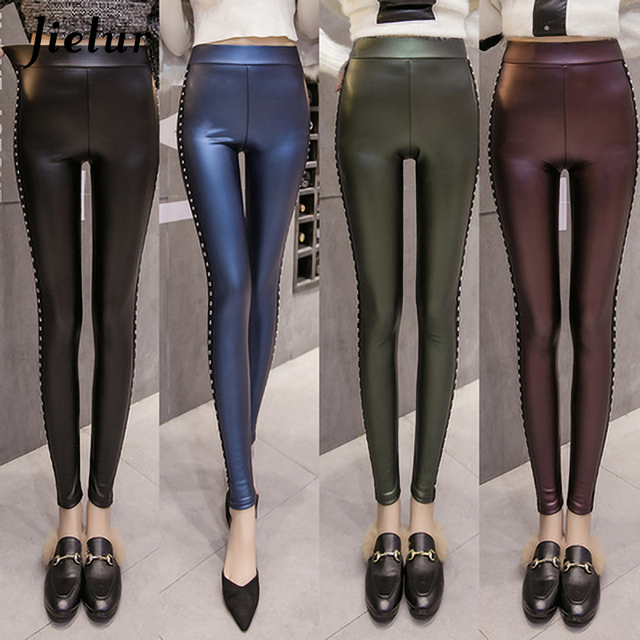 Jielur Winter Fleece Matte PU Leather Leggings Women Fashion Rivets Push Up Pencil Pants 4 Colors S-XXXL Lady High Waist Legging 3