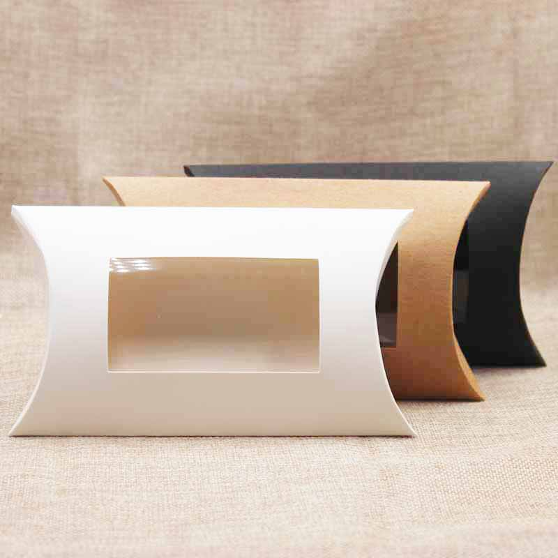 10pc 16*7*2.4cm brown/white/black cardboard pillow window box with clear pvc for proucts/gifts/favors/display packing show 14