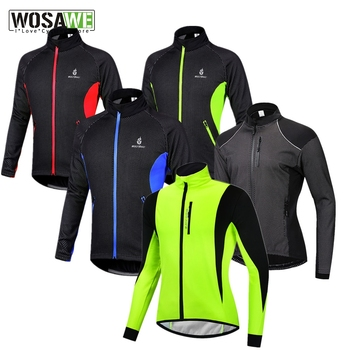 WOSAWE Mens's Winter Warm Up Thermal Fleece Cycling Jacket Bicycle MTB Road Bike Clothing Windproof Water Repellent Long Jersey arsuxeo men s cycling jacket winter thermal fleece warm up mtb bike jacket wind bicycle clothing windproof outdoor sports coat