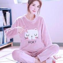 Зимняя женская теплая Пижама мультяшный милый пижамный комплект мягкий фланелевый топ пижамы длинные брюки Повседневная одежда для мам 2020 Домашняя одежда большого размера Pjs