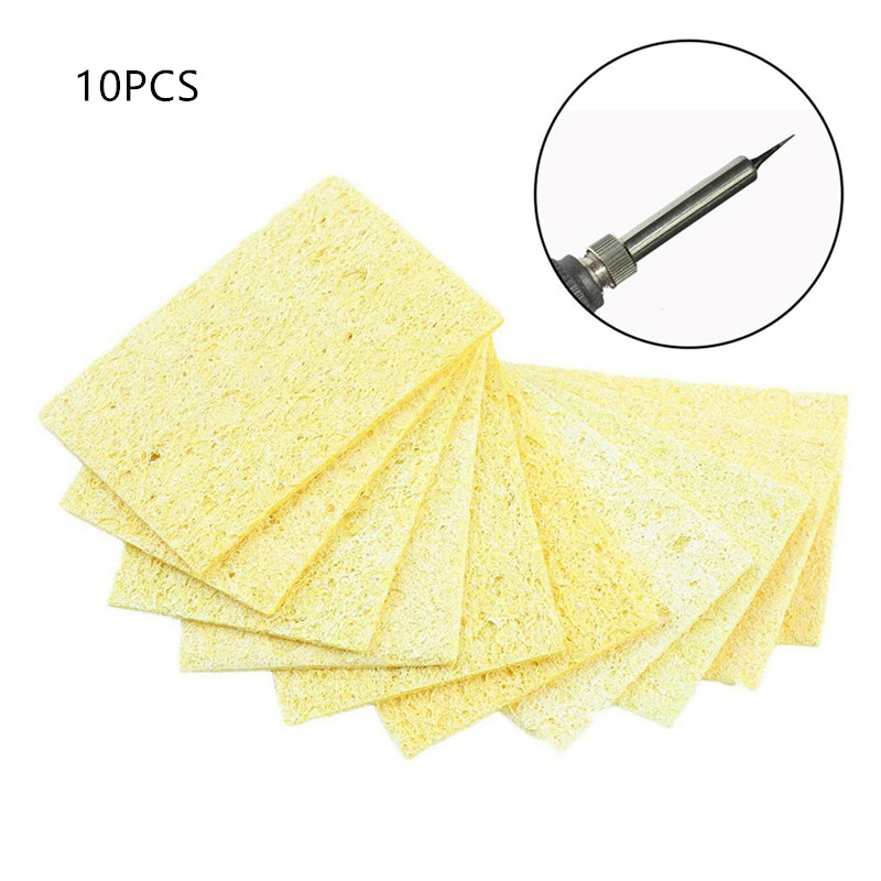 10pcs/bag Quality High Temperature Resistant Heatstable Solder Cleaning Yellow Sponge Cleaner Pads Soldering Iron Cleaning