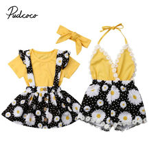 Kids Baby Girls clothes Two Style Sunflower Bodysuit Tops Fl