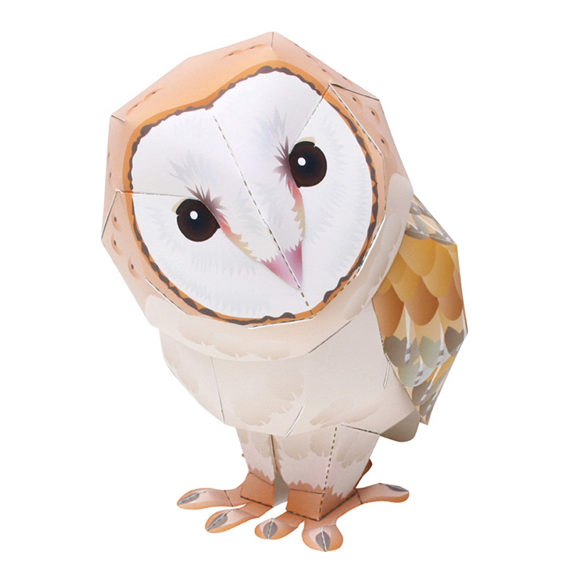 Barn Owl Bird Folding Cutting Mini Cute 3D Paper Model Papercraft Flying Animal Figure DIY Kids Adult Craft Toys QD-044