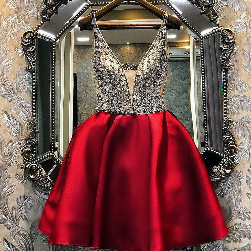 V-neck A-line Evening Dress Short 2019 Tulle Vintage Robe De Soiree Beading Pearls Prom Dresses Sleeveless Satin OL103537