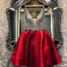 Vestido curto para baile, decote em v, a linha, de tule, vintage, robe de soiree, pérolas, sem mangas, de cetim ol103537 2019