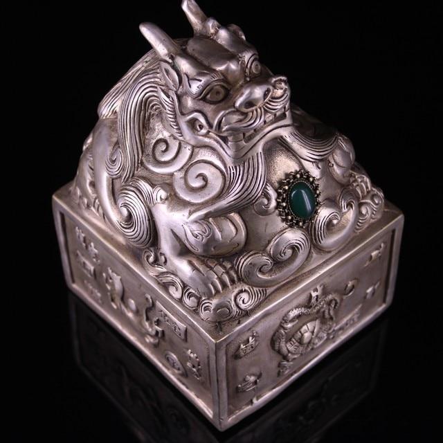 Collection LaoJunLu de vieux cuivre pur, plaque en argent doré incrusté à la main sceau de Dragon Imitation bronze antique chef-d œuvre