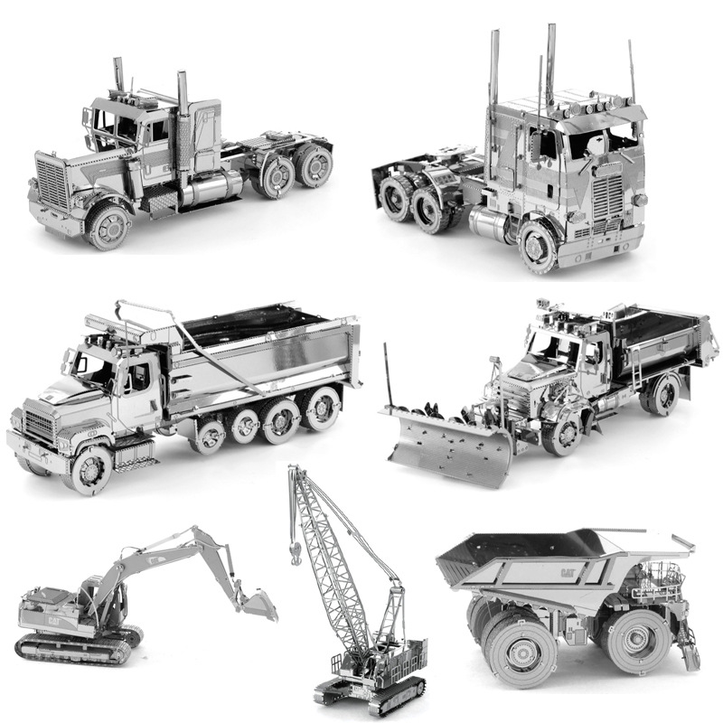 Love Spell 3D Metal Assembled Model DIY Educational Puzzle Engineering Vehicle Long Nose COE Truck Loader Crane(China)