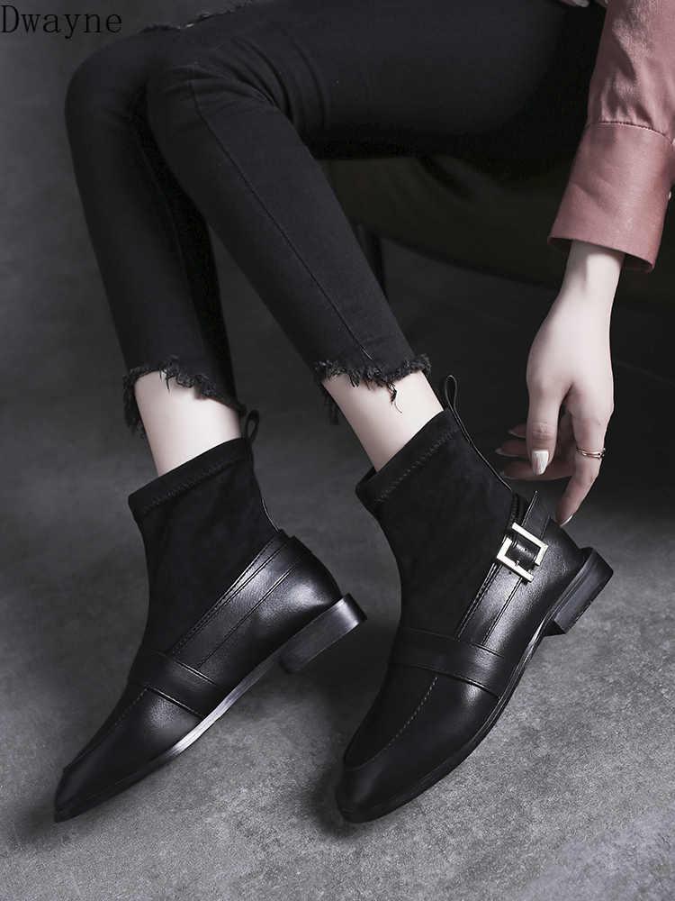 Çorap ve bot 2019 yeni tip kırmızı ince çizmeler düz dipli ve düşük topuk İngiliz tarzı deri ayakkabı