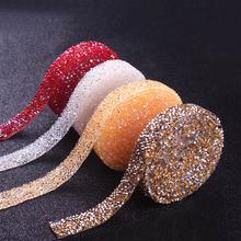 1Yard Hot Fix Glitter Dress Rhinestones Motifs Ribbon Crystal Iron On Patches Applique Hotfix Strass Wedding Accessories