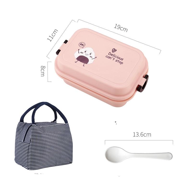 1000 мл прямоугольная коробка для ланча микроволновая печь японский Bento Box детский пищевой контейнер для хранения Портативный школьный пикник с ложкой для обеда - Цвет: Pink Thermos Bag
