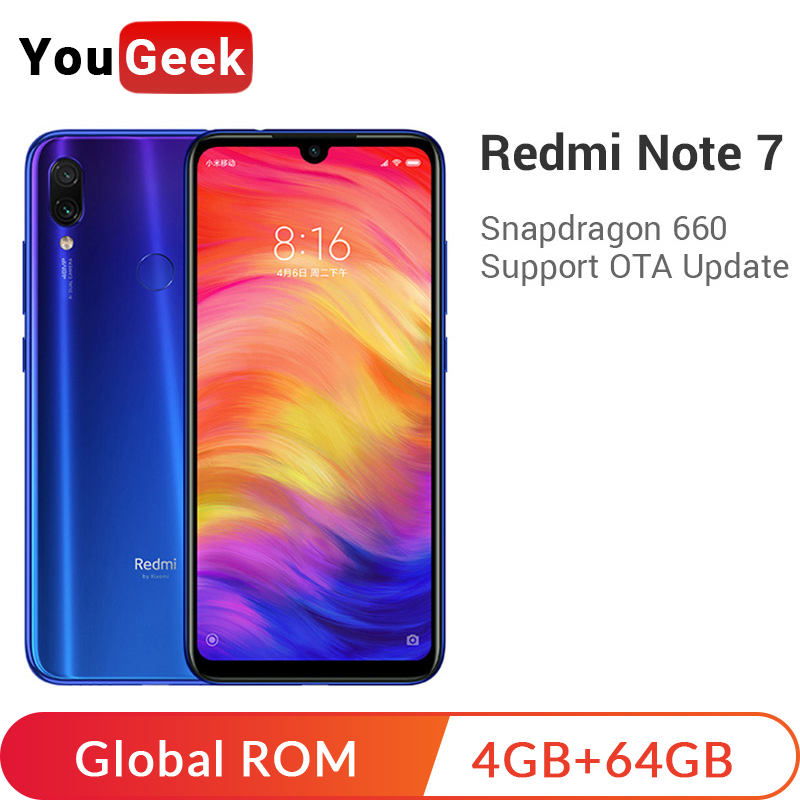 Global ROM Xiaomi Redmi Note 7 Note7 4GB <font><b>64GB</b></font> Snapdragon 660 4000mAh 48MP Cameras 6.3