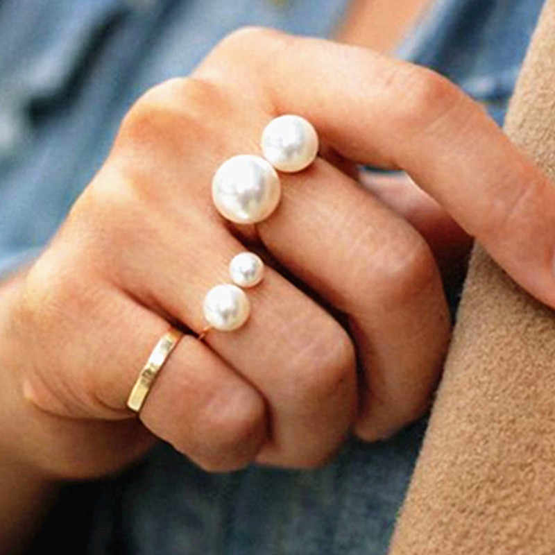 Ladies Double Natural Pearl Rings Round Rings For Women Ring Party Travel Jewelry Gifts Adjustable Elegant