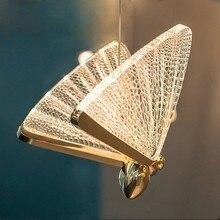 Lámpara nórdica de mariposa de para sala de estar, decoración artística de iluminación interior, escalera de vestíbulo, dormitorio,