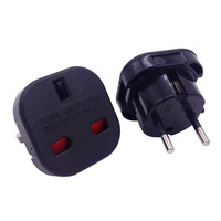 100 Pcs/Lot Universal Travel UK to EU Euro Plug AC Power Charger Adapter Converter Socket Black or White
