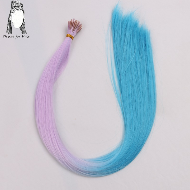 Desire for hair 100strands 22inch long 1g heat resistant ombre grey purple synthetic I tip micro ring hair extensions for Party