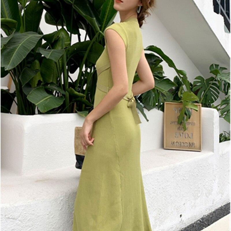2020 New Women Slim Tank Dresses Split O Neck Knitted Long Dress Elegant Ladies Sleeveless Bodycon Sweater Dresses Vestidos 4