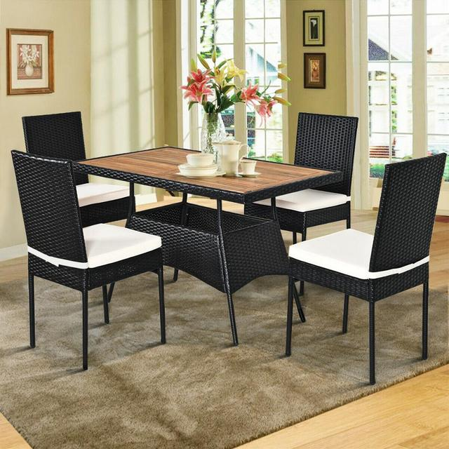 5 PCS Patio Dining Table w/Wood Top Cushioned Chairs  4