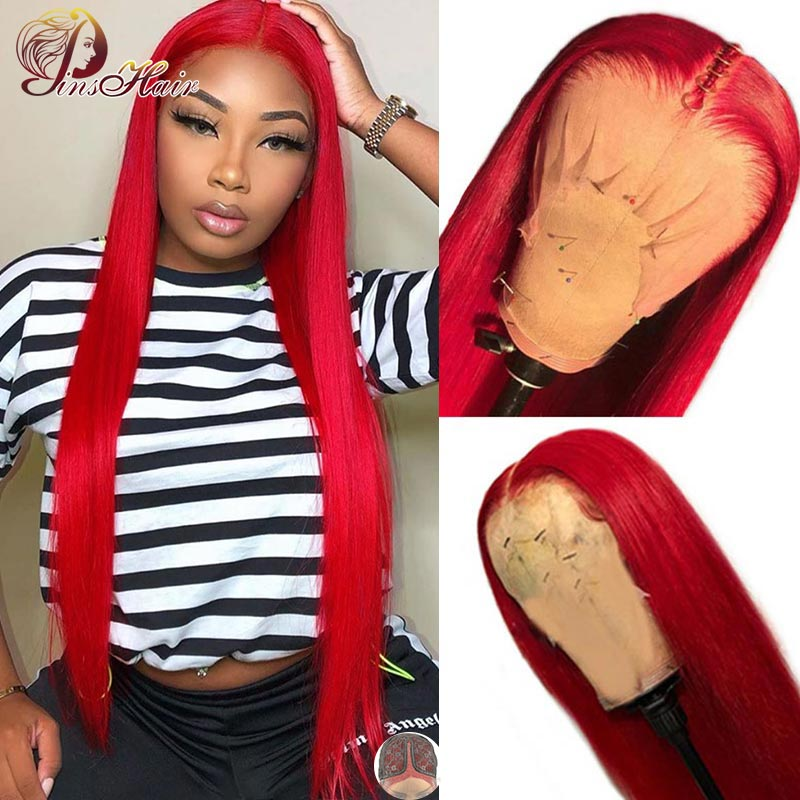 13X1 Colored Red Lace Front Wig Straight Lace Front Wigs Human Hair 150% Pre Plucked With Baby Hair Pinshair Brazilian Remy Hair