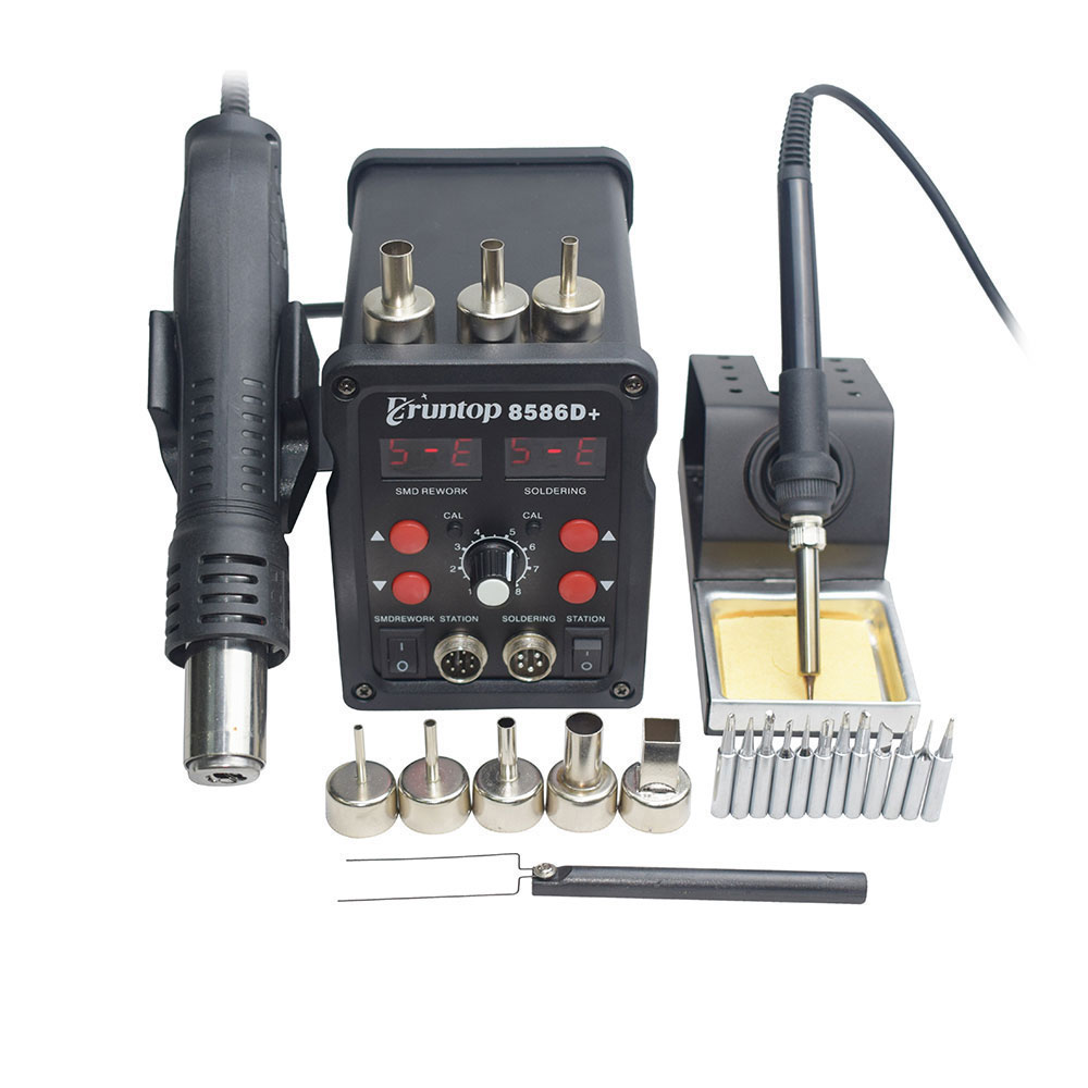 Eruntop 8586D+ Double Digital Display 2in1 Electric Soldering Irons +Hot Air Gun Better SMD Rework Station Upgraded 8586 8586D