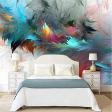 Milofi Custom 3D Photo Wall Nordic Abstract Watercolor Art Colorful Feather Living Room Mural Mural Wall Background(China)