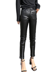 Pants Black Slim-Trousers Winter Women Rivets Highstreet Sexy Genuine-Leather Autumn