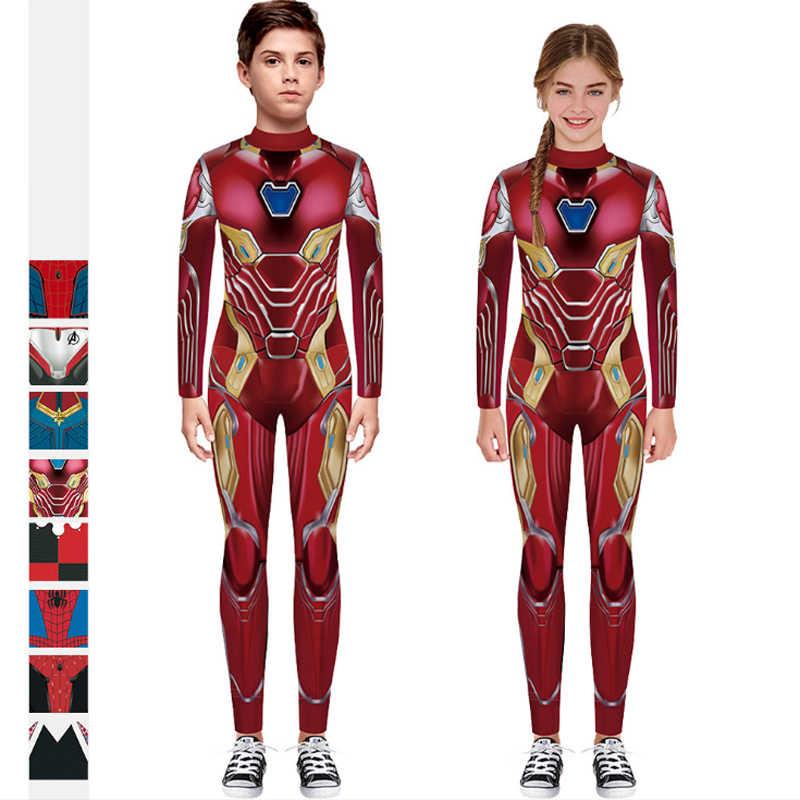 Advengers super-herói terno homem de ferro spiderman coringa cosplay terno para crianças meninas traje de halloween para meninos macacão desempenho