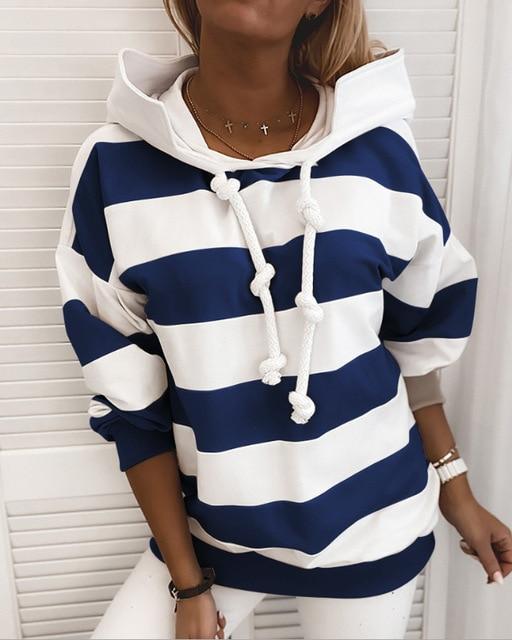 Фото женский свитшот с длинным рукавом повседневный полосатый пуловер цена