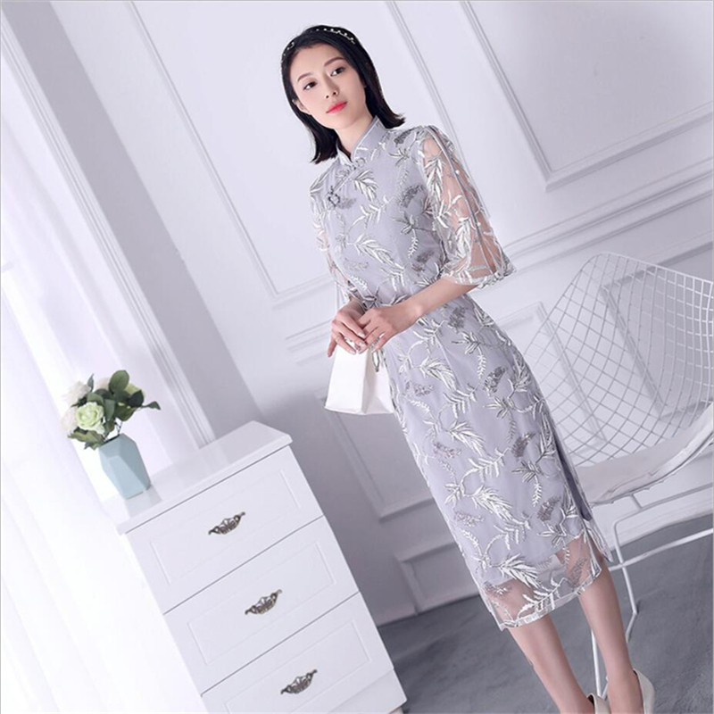 Embroidery sequins ao dai modern Womens Luxury <font><b>traditional</b></font> <font><b>vietnam</b></font> clothing floral qipao summer <font><b>dresses</b></font> XXL online chinese store image