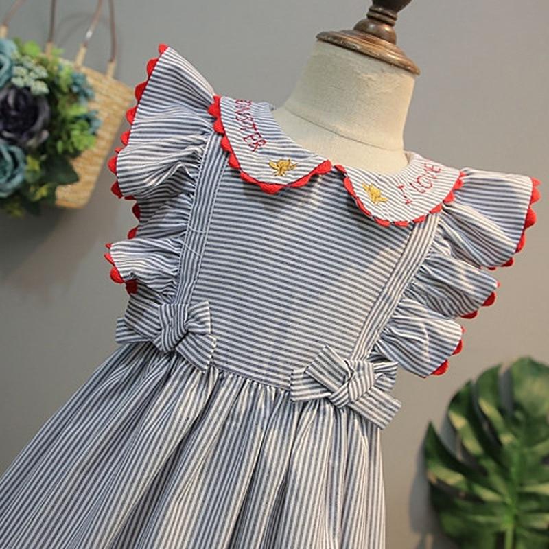 2021 New Summer Baby Girls Princess Dress Kids Wedding Party Dresses Children Embroidery Stripe Elegant Dress Cotton Clothing 3