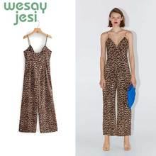 Summer Women Jumpsuit sexy Leopard Print Harajuku Jumpsuits Women spaghetti strap Vintage loose Jumpsuit fashionable ethnic style print spaghetti strap jumpsuit for women